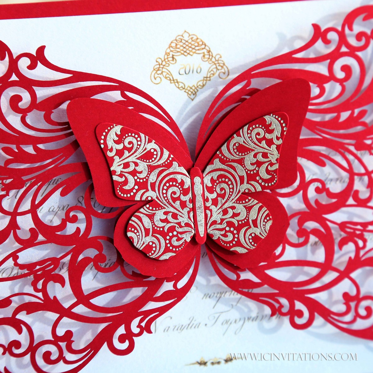 Wedding Invitation with Red and Gold Butterfly laser cut